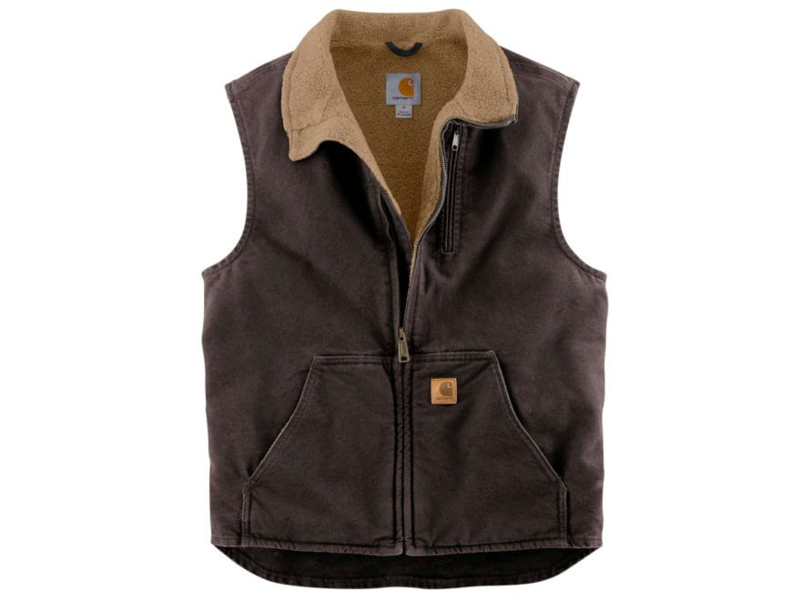 Carhartt Men's Sandstone Mock Neck Sherpa-Lined Vest Cotton