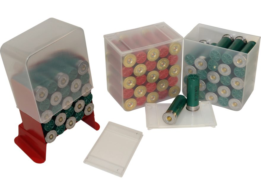 """MTM Shell Stack Ammo Box 12 Ga 2-3/4"""" 25-Round Plastic Clear Package of 4"""