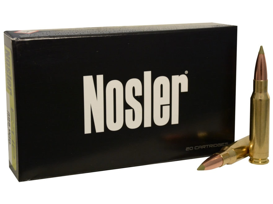 Nosler E-Tip Ammunition 308 Winchester 168 Grain E-Tip Lead-Free Box of 20