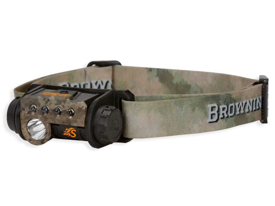 Browning Hell's Canyon Speed Epic 3V Headlamp LED with 1 CR123A Battery Polymer ATACS A...