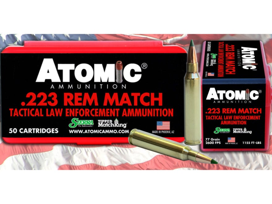 Atomic Tactical LE Ammunition 223 Remington 77 Grain Sierra Tipped MatchKing (TMK) Box ...