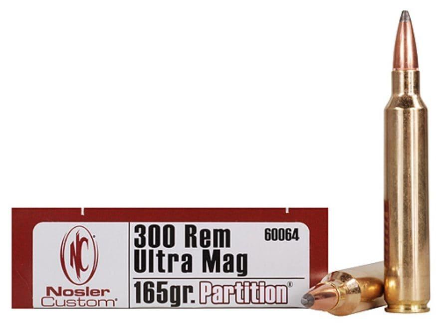 Nosler Trophy Grade Ammunition 300 Remington Ultra Magnum 165 Grain Partition Box of 20