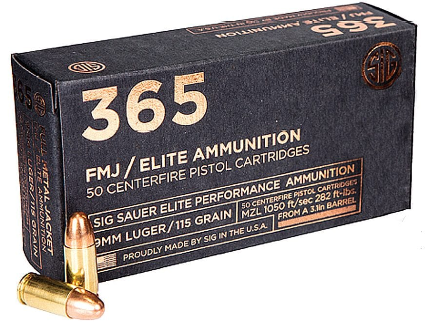 Sig Sauer 365 Elite Performance Ammunition 9mm Luger 115 Grain Full Metal Jacket Box of 50