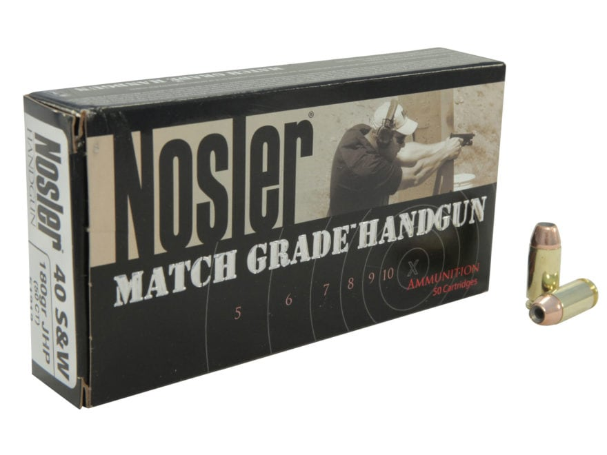 Nosler Match Grade Ammunition 40 S&W 180 Grain Jacketed Hollow Point Box of 50