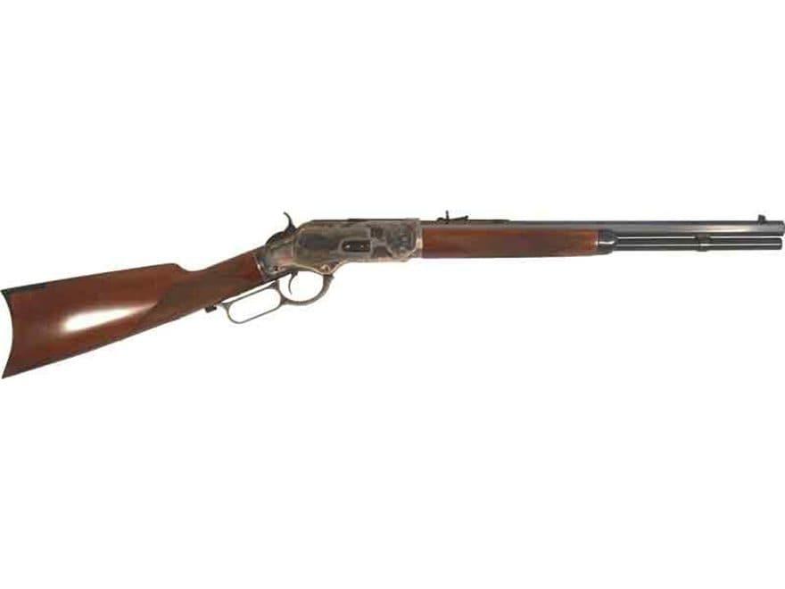 """Cimarron 1873 Saddle Shorty Rifle 18"""" Barrel Color Case Hardened, Blue, Walnut"""
