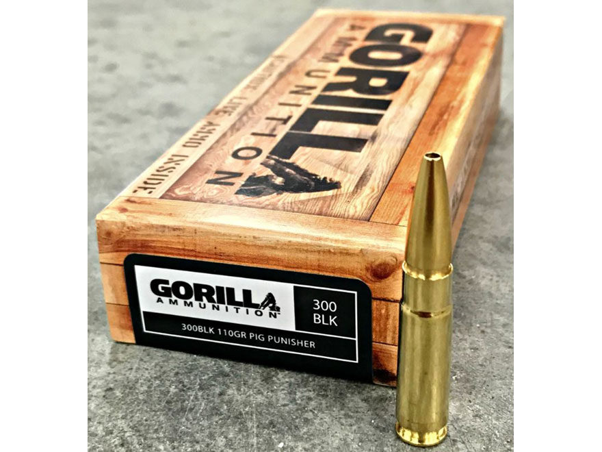 Gorilla Pig Punisher Ammunition 300 AAC Blackout 110 Grain Solid Copper Fragmenting Lea...