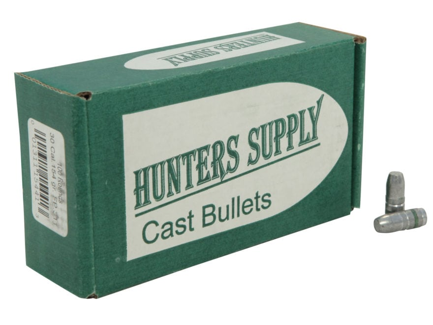 Hunters Supply Hard Cast Bullets 30 Caliber (311 Diameter) 154 Grain Lead Flat Point
