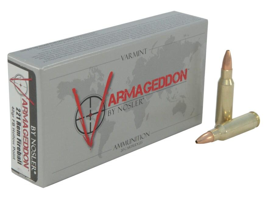 Nosler Varmageddon Ammunition 221 Remington Fireball 40 Grain Hollow Point Flat Base Bo...