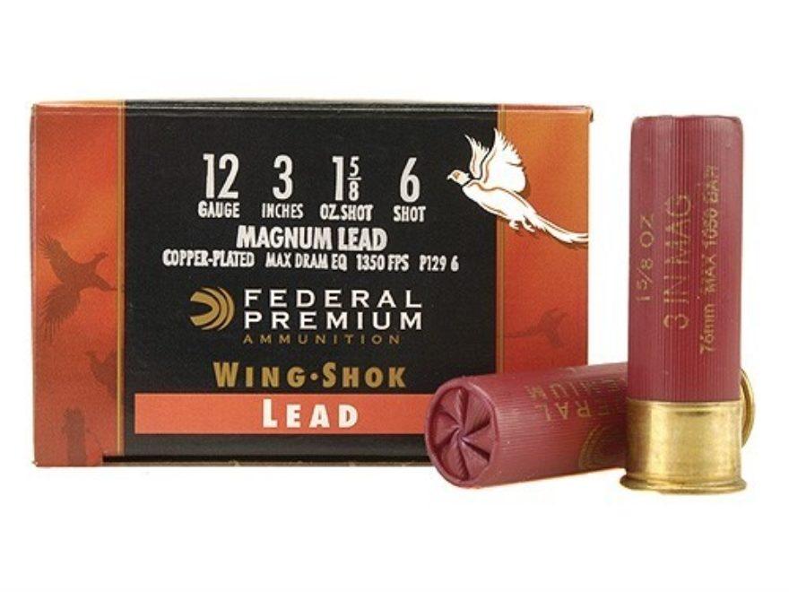 "Federal Premium Wing-Shok Ammunition 12 Gauge 3"" 1-5/8 oz Buffered Copper Plated Shot"
