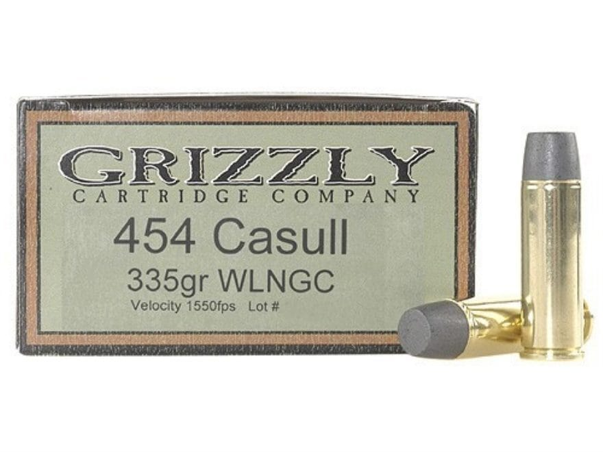 Grizzly Ammunition 454 Casull 335 Grain Cast Performance Lead Wide Flat Nose Gas Check ...