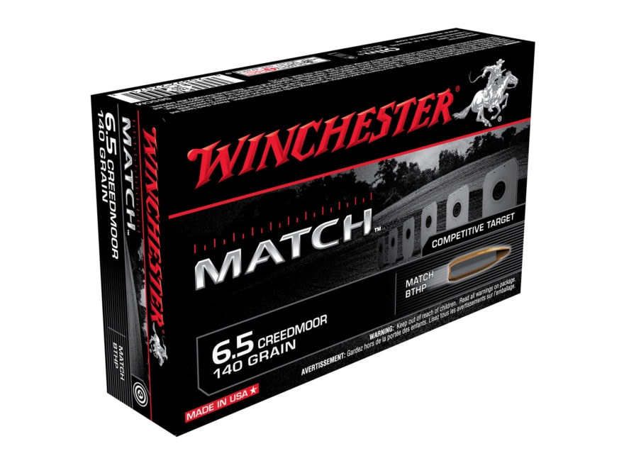 Winchester Match Ammunition 6.5 Creedmoor 140 Grain Sierra MatchKing Hollow Point Boat ...