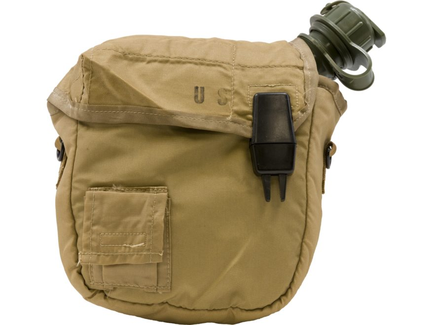 Military Surplus OD 2-Quart Canteen with Tan ALICE Carrier
