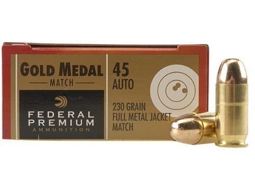 Federal Premium Gold Medal Match Ammunition 45 ACP 230 Grain Full Metal Jacket