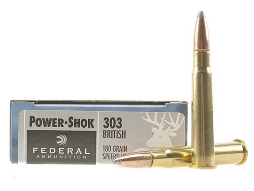 Federal Power-Shok Ammunition 303 British 180 Grain Speer Hot-Cor Soft Point Box of 20