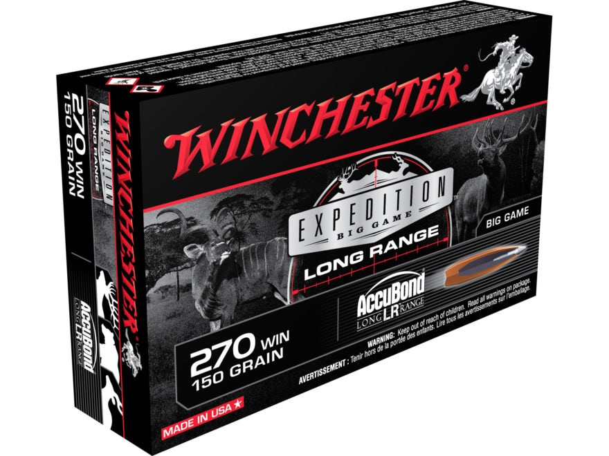 Winchester Expedition Big Game Long Range Ammunition 270 Winchester 150 Grain Nosler Ac...