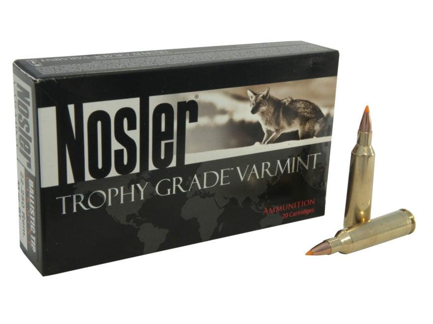 Nosler Trophy Grade Ammunition 22-250 Remington 55 Grain Ballistic Tip Varmint Spitzer ...