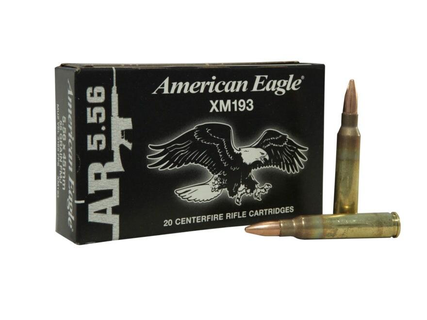 Federal American Eagle AR Ammunition 5.56x45mm NATO 55 Grain XM193 Full Metal Jacket Bo...