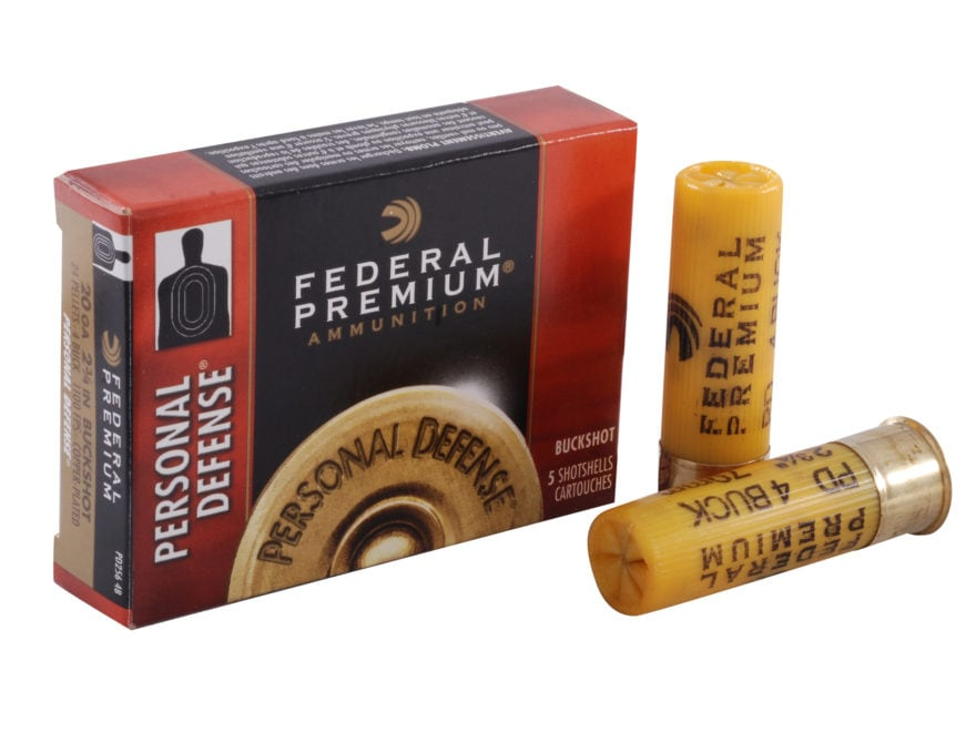 "Federal Premium Personal Defense Ammunition 20 Gauge 2-3/4"" #4 Buckshot Shot 24 Pellets"