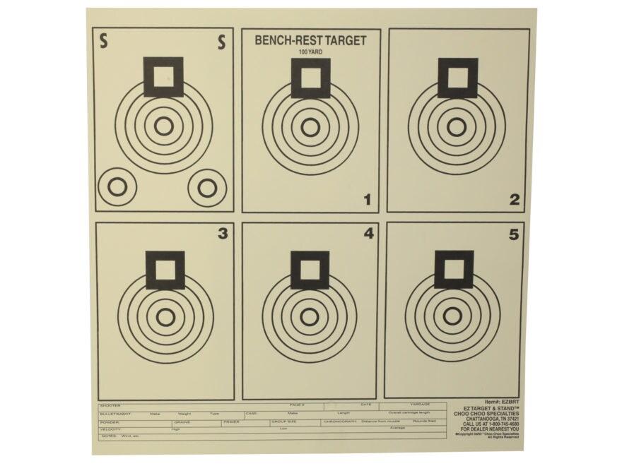 """EZ Target Bench Rest Practice Target 11.25"""" x 11.25"""" Paper Pack of 20"""