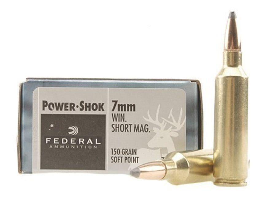 Federal Power-Shok Ammunition 7mm Winchester Short Magnum (WSM) 150 Grain Soft Point Bo...