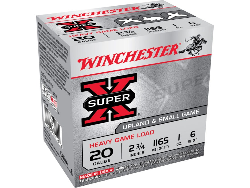 "Winchester Super-X Heavy Game Load Ammunition 20 Gauge 2-3/4"" 1 oz #6 Shot"