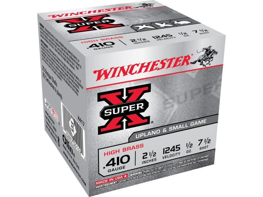 """Winchester Super-X High Brass Ammunition 410 Bore 2-1/2"""" 1/2 oz #7-1/2 Shot"""