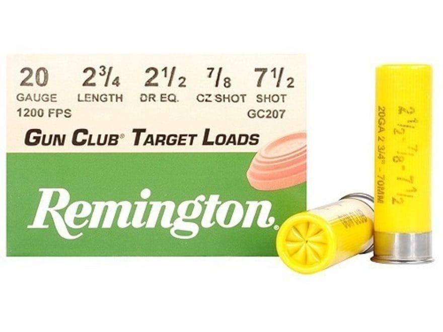 "Remington Gun Club Target Ammunition 20 Gauge 2-3/4"" 7/8 oz #7-1/2 Shot"