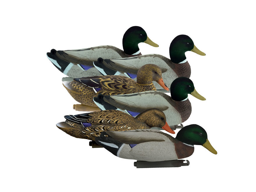 Higdon Magnum Flocked Head Mallard Duck Decoy Polymer Pack of 6