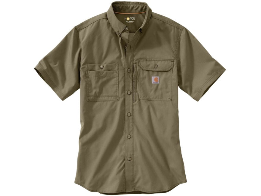 Carhartt Men's Force Ridgefield Button-Up Shirt Short Sleeve Polyester/Cotton