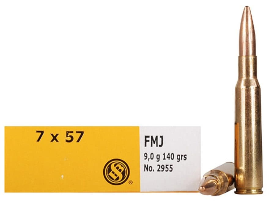Sellier & Bellot Ammunition 7x57mm Mauser (7mm Mauser) 140 Grain Full Metal Jacket Box ...