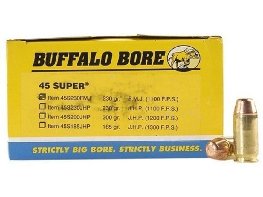 Buffalo Bore Ammunition 45 Super 230 Grain Full Metal Jacket Box of 50