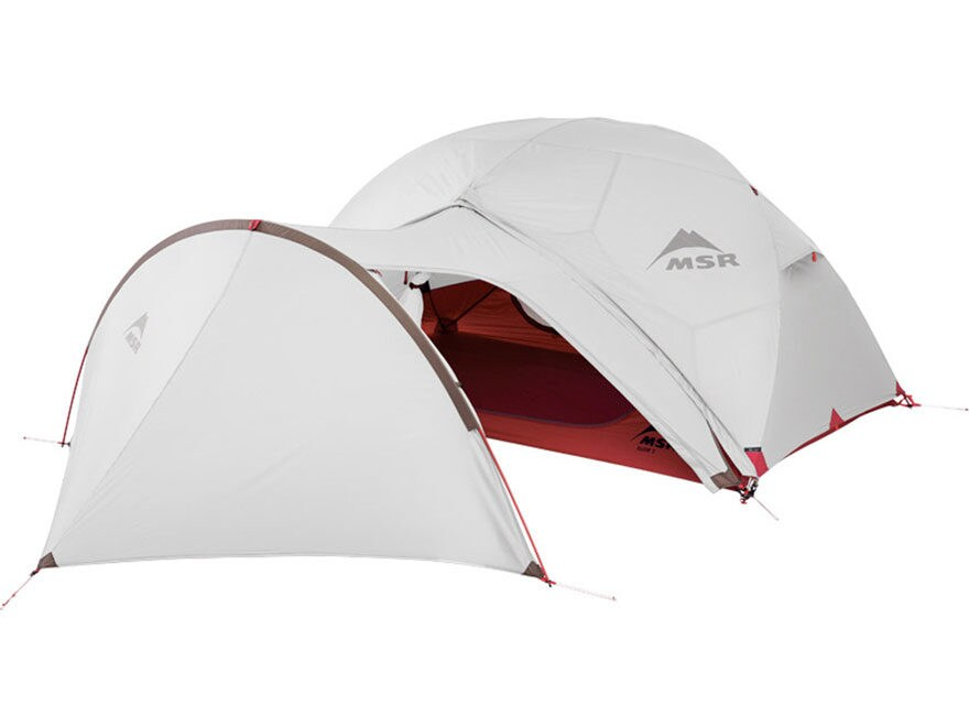 MSR Elixir Modified Dome Tent Gear Shed Polyester Red and White