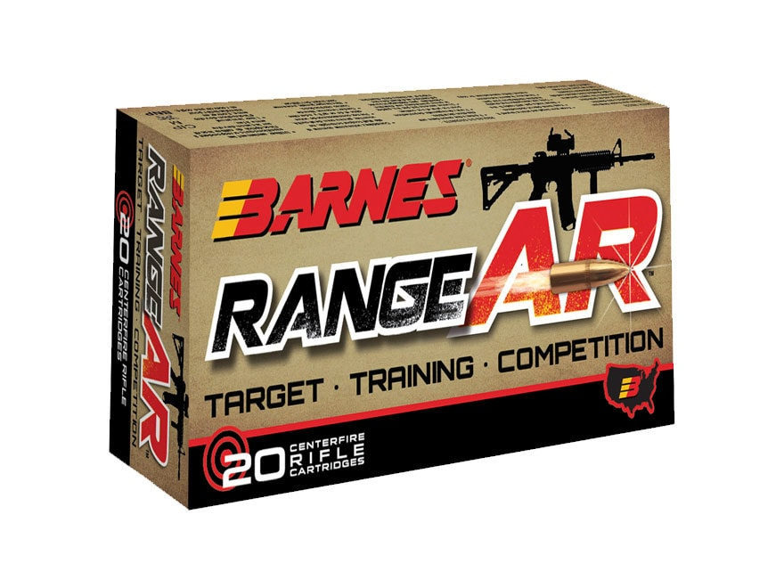 Barnes RangeAR Ammunition 300 AAC Blackout 90 Grain Open Tip Flat Base Lead-Free Box of 20