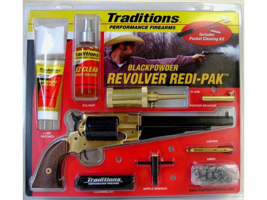 "Traditions 1858 Army Redi-Pak Black Powder Revolver 44 Caliber 8"" Blued Barrel Brass Fr..."