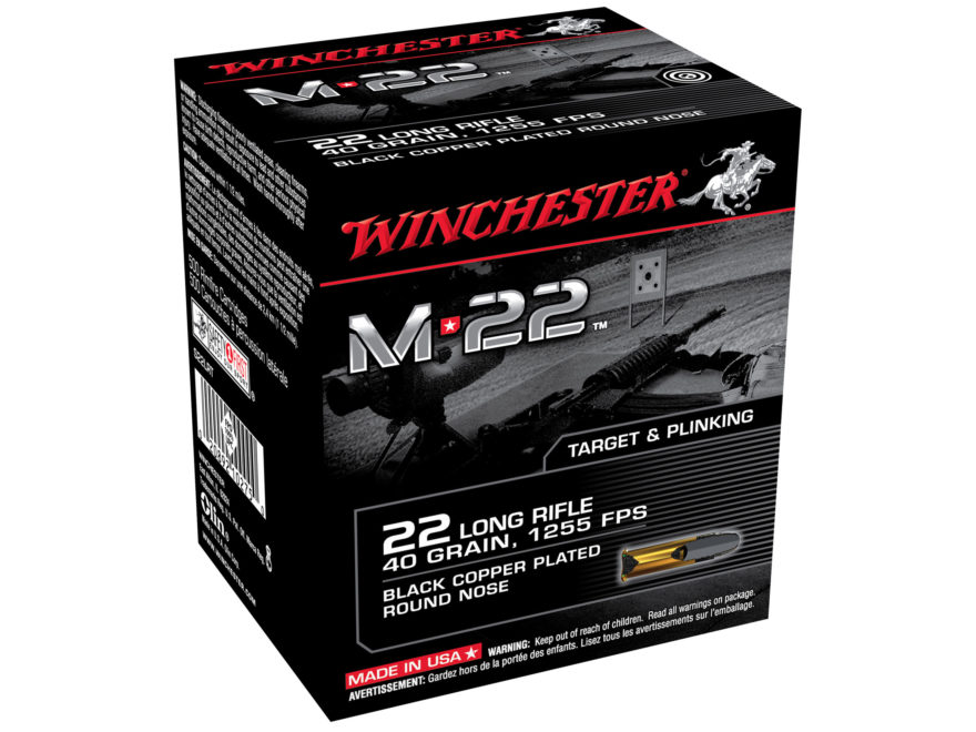 Winchester M-22 Ammunition 22 Long Rifle 40 Grain Black Plated Lead Round Nose