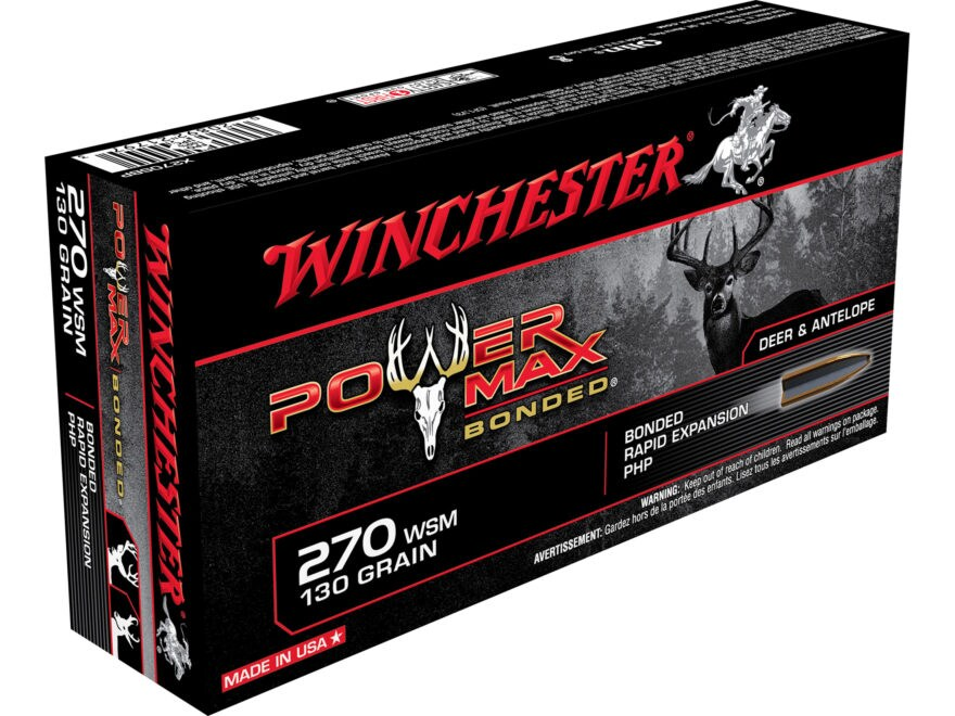Winchester Power Max Bonded Ammunition 270 Winchester Short Magnum (WSM) 130 Grain Prot...