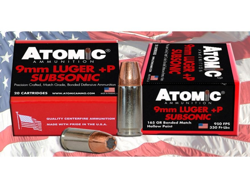 Atomic Ammunition 9mm Luger Subsonic 165 Grain Bonded Hollow Point Box of 20