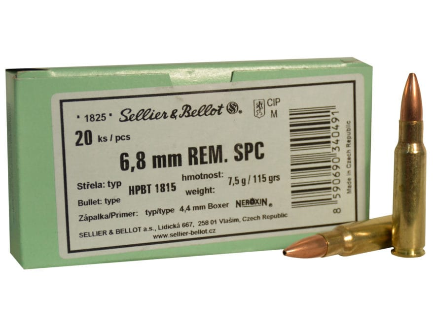 Sellier & Bellot Ammunition 6.8 Remington SPC 115 Grain Sierra MatchKing Hollow Point B...