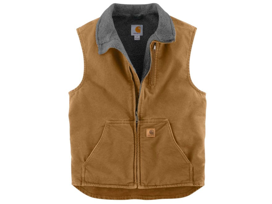 Carhartt Men's Sandstone Mock Neck Sherpa-Lined Vest Cotton