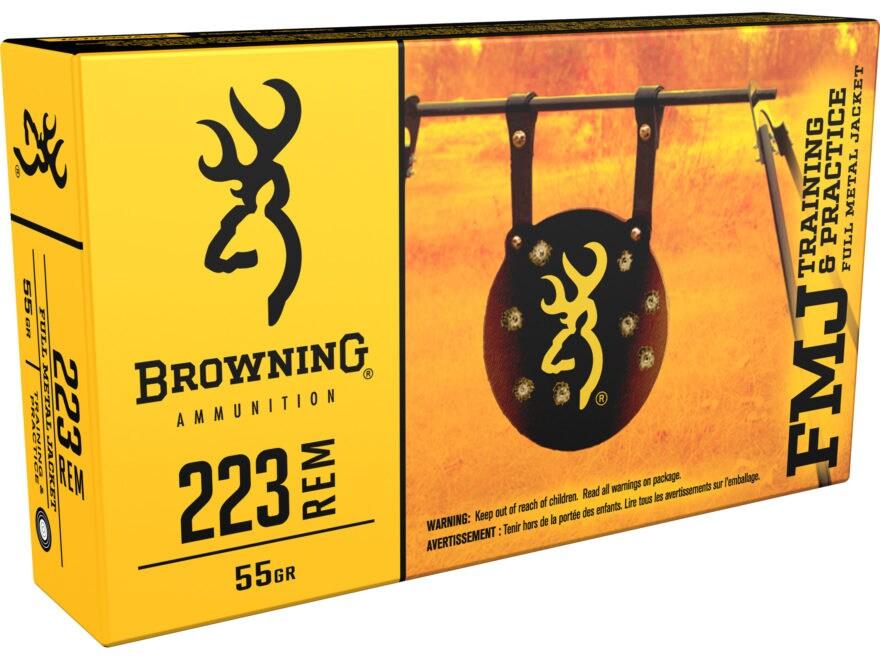 Browning FMJ Ammunition 223 Remington 55 Grain Full Metal Jacket Box of 20