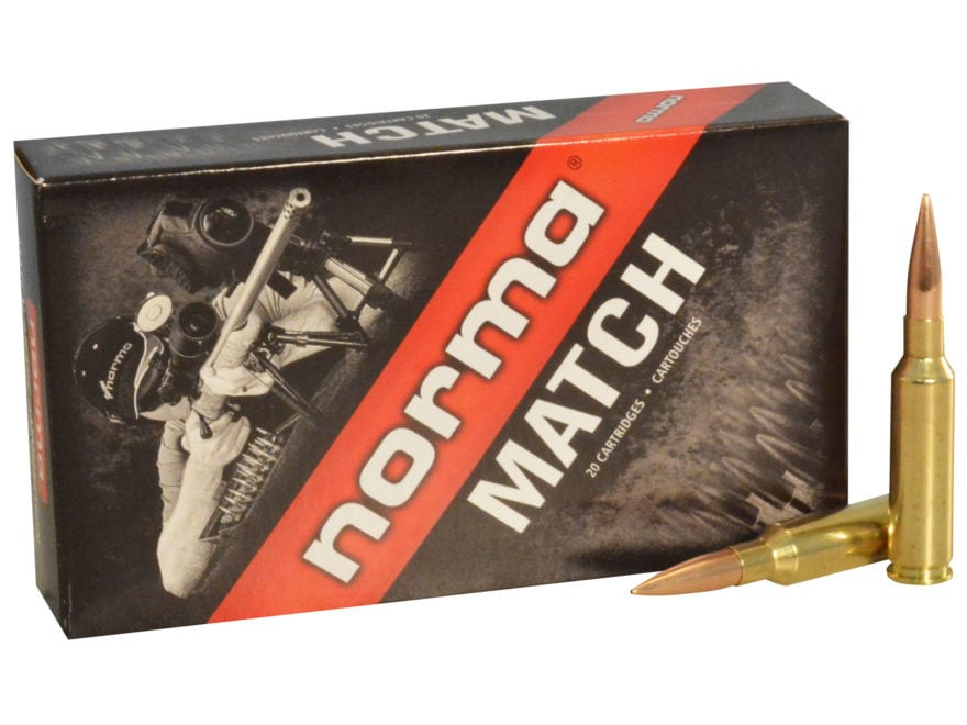 Norma USA Match Ammunition 6.5 Creedmoor 130 Grain Golden Target Hybrid Hollow Point Bo...
