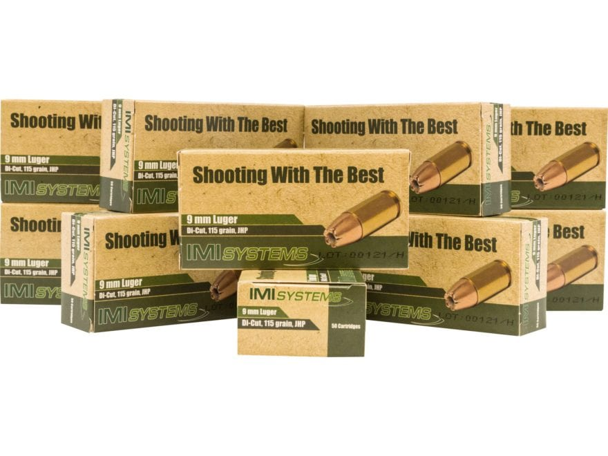 IMI Ammunition 9mm Luger 115 Grain Di-Cut Jacketed Hollow Point Box of 500 (10 Boxes of...