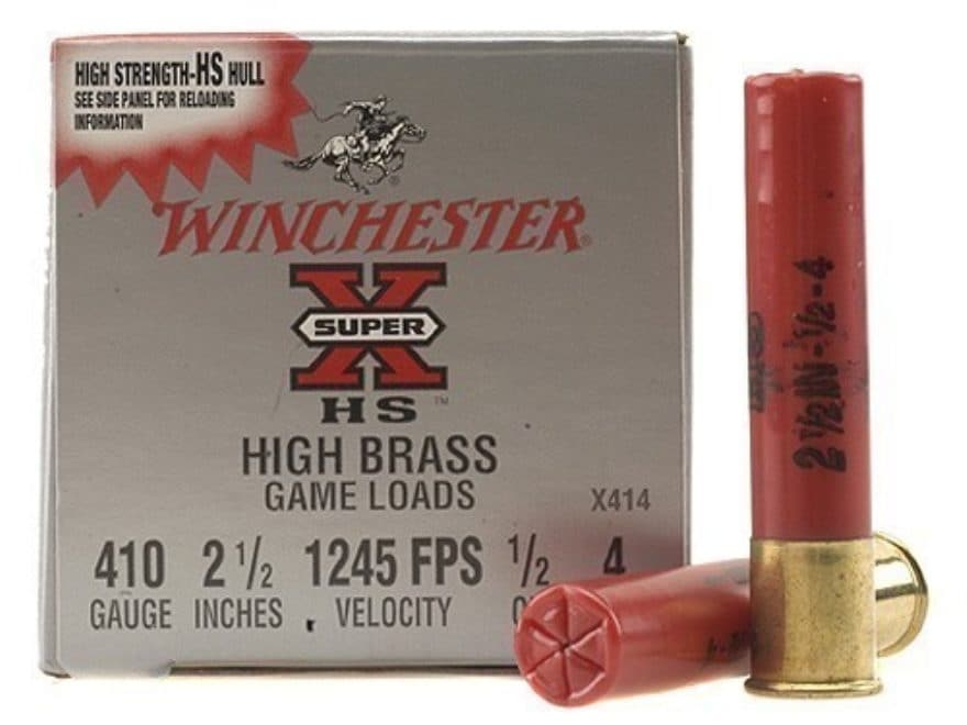 "Winchester Super-X High Brass Ammunition 410 Bore 2-1/2"" 1/2 oz #4 Shot Box of 25"