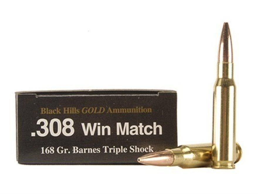 Black Hills Gold Ammunition 308 Winchester 168 Grain Barnes TSX Hollow Point Boat Tail ...