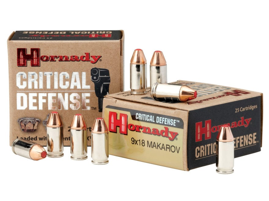 Hornady Critical Defense Ammunition 9x18mm (9mm Makarov) 95 Grain Flex Tip eXpanding Bo...