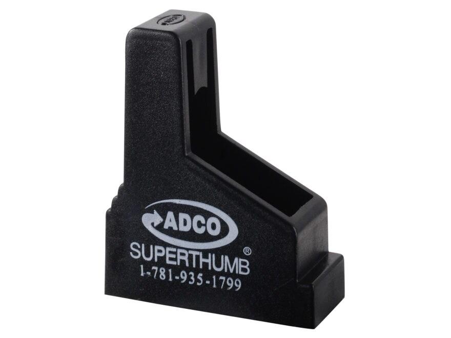 ADCO Super Thumb Magazine Loader Single Stack 9mm Luger, 38 Super, 45 ACP Polymer Black