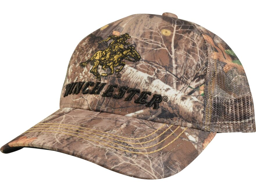 1ecb1d542 Winchester Mesh Back Low Crown Camo Logo Cap One Size Fits Most Cotton  Realtree Edge