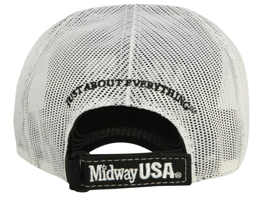 18c99a52d35cd MidwayUSA Trucker Cap Black Front White Mesh Back