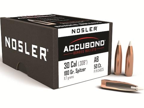 Nosler AccuBond Bullets 30 Caliber (308 Diameter) 180 Grain Bonded Spitzer  Boat Tail Box of 50