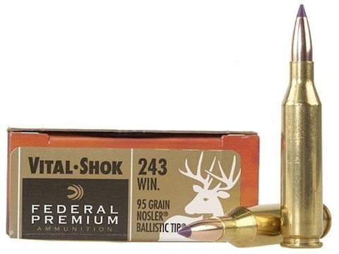 Federal Premium Ammunition 243 Winchester 95 Grain Nosler Ballistic Tip Box  of 20